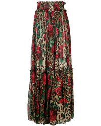Dolce & Gabbana フローラル マキシスカート - ブラウン