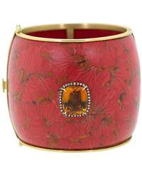 Silvia Furmanovich 18kt Yellow Gold Marquerty Ginko Bangle Bracelet - Red
