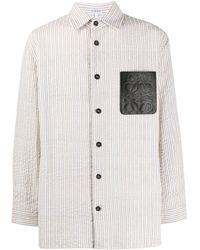 Loewe White And Off-white Seersucker Shirt
