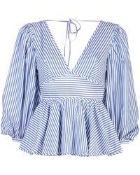 STAUD 'luna' Striped V-neck Puff Sleeve Top - Blue