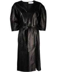 DROMe Belted Leather Dress - Black