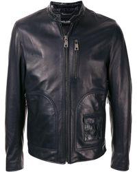 Dolce & Gabbana Chaqueta biker con botón de presión en el cuello - Negro