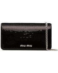 Miu Miu Black Sequin Leather Wallet On A Chain - Zwart