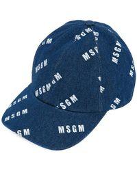 MSGM - Branded Denim Baseball Cap - Lyst