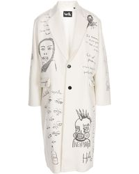 Haculla All-over Drawings Print Coat - White