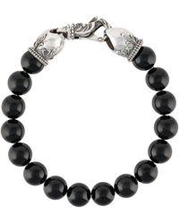 Emanuele Bicocchi Stone-embellished Beaded Bracelet - Black
