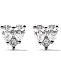 AS29 Orecchini a bottone Mye heart illusion in oro bianco 18kt con diamanti - Metallizzato