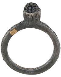 Rosa Maria Diamond Embellished Ring - Black