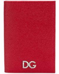 Dolce & Gabbana Funda para pasaporte con aplique del logo - Rojo