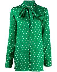 Plan C Polka Dot Pussy-bow Blouse - Green
