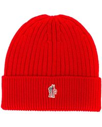 3 MONCLER GRENOBLE Ribbed Beanie - Red
