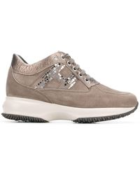 Hogan Embellished H Sneakers - Gray