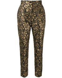 Dolce & Gabbana Pantalones en jacquard con diseño floral - Multicolor