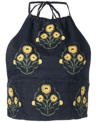 Agua by Agua Bendita Floral-embroidered Halterneck Top - Blue