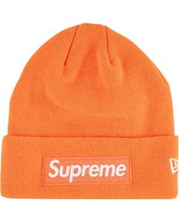 Supreme New Era Box Logo Beanie - Orange