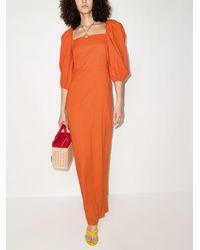 Adriana Degreas Платье Макси С Объемными Рукавами - Оранжевый