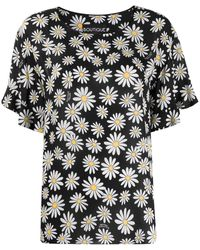 Boutique Moschino Loose-fit Daisy-print Blouse - Black