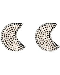 Venessa Arizaga White Dancing In The Moonlight Crystal And Pearl Earrings