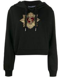 Dolce & Gabbana Hoodie Met Geborduurd Hart - Zwart