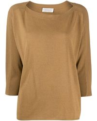Zanone Boat Neck Slouchy Jumper - Brown