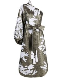 Yuliya Magdych Olives Embroidered Dress - Metallic