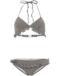 Miu Miu Triangle Ruffle Detail Gingham Bikini - Black