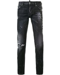 DSquared² Faded Slim Fit Jeans - Black