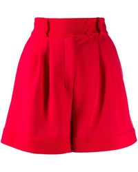 Styland Flared Pleated Shorts - レッド