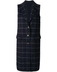Calvin Klein Check Double Weave Long Coat - Blue