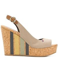 Tommy Hilfiger - Striped Wedge Sandals - Lyst