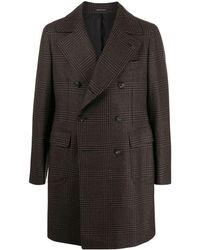 Tagliatore Plaid Double-breasted Coat - Black