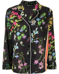 Cynthia Rowley Camisa de pijama con estampado botánico - Negro