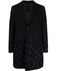 Philipp Plein Жаккардовое Пальто С Монограммой - Черный