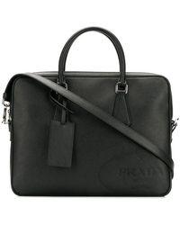 Prada - Embossed Logo Laptop Bag - Lyst