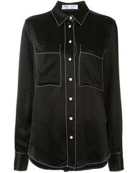 PROENZA SCHOULER WHITE LABEL Contrast Stitching Crepe Shirt - Black
