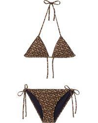 Burberry Monogram Print Triangle Bikini - Brown