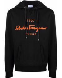 Ferragamo Толстовка С Капюшоном И Вышитым Логотипом - Черный