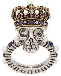 Alexander McQueen - Кольцо Queen Skull - Lyst