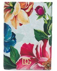 Dolce & Gabbana Étui à passeport à fleurs - Bleu