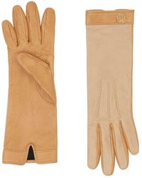 Burberry Silk-lined Two-tone Lambskin Gloves - Natural