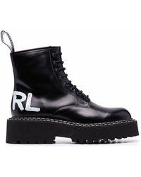 Karl Lagerfeld ロゴ アンクルブーツ - ブラック