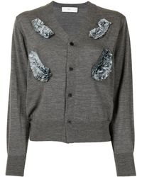 Toga Ruffled Button-up Cardigan - Gray