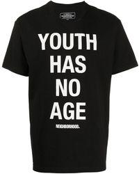 Neighborhood スローガン Tシャツ - ブラック