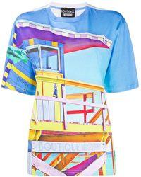 Boutique Moschino Beach Hut Print T-shirt - White