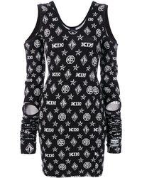 KTZ ロゴ柄 カットアウトワンピース - ブラック