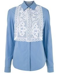 Martha Medeiros Camisa Dara Tricoline Azul - ブルー