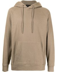 Emporio Armani Geometric-pattern Pullover Hoodie - Brown
