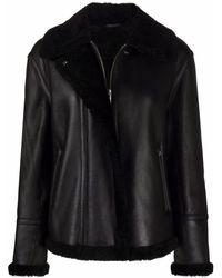 Theory Leather Biker Jacket - Black