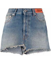 Heron Preston Short en jean à patch logo - Bleu