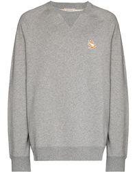 Maison Kitsuné Sweatshirt mit Chillax Fox-Patch - Grau
